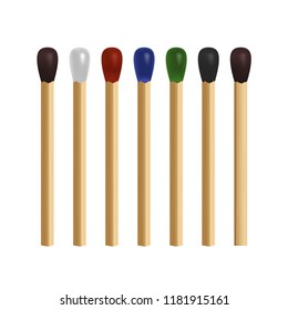 Match stick colored icon set on white background. Brown, white, red, blue, green, black. 3d realistic vector illustration
