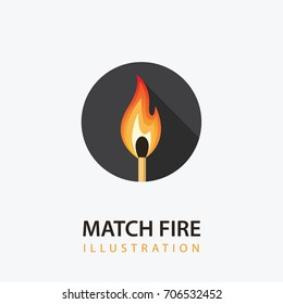 Match Stick with Fire. Burning Match Illustration in Circle