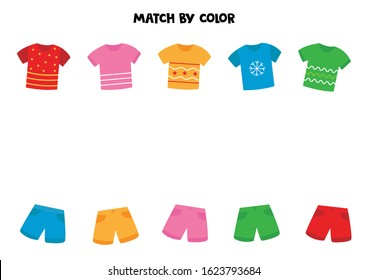 Match t shirts and shorts by color. Game for kids.