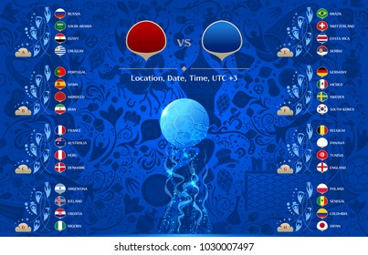 Match template, 2018 final draw results table, flags of countries participating to the international tournament in Russia, date, time & location, traditional russian background, match calendar, vector