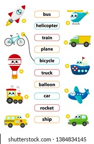 Match words with the correct pictures. Learn english words. For preschool kids activity worksheet. Cute kawaii cartoon vector characters.