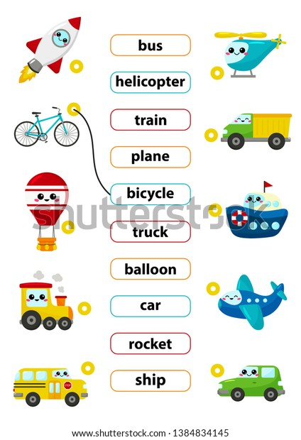 Match Words Correct Pictures Learn English Stock Vector ...