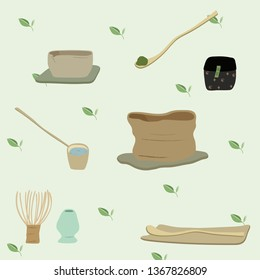 Matcha brewing set simple hand draw wabi sabi style with matcha whisk chasen chashaku spoon pottery bowl and matcha stand on the tea leaves background