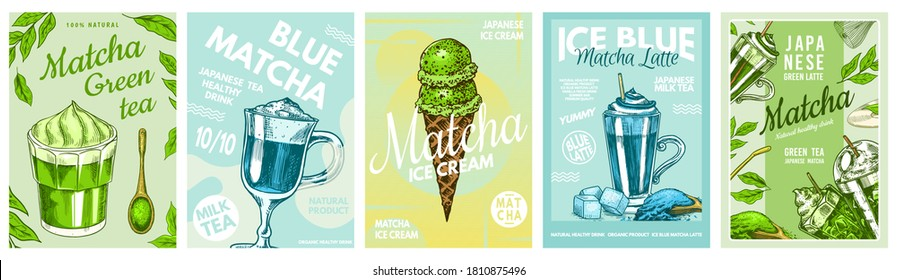 Matcha green tea poster. Healthy milk blue latte, Smoothie Bowl, Ice Cream and Chocolate bar. Japanese ceremony banner. Engraved hand drawn Vintage sketch for menu or book.