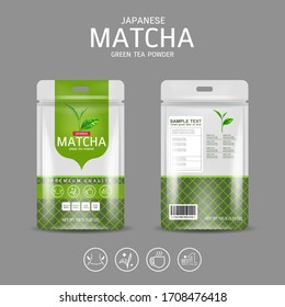 Matcha Green Tea Powder Packaging Label Vector Template for Products.