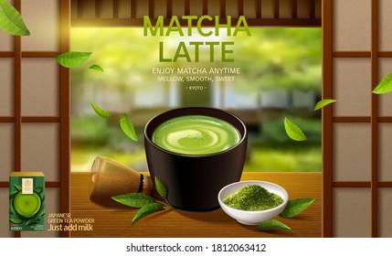 Matcha latte ad in 3d illustration, matcha cup set on Japanese zen garden background