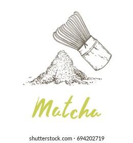 Matcha, popular antioxidant green tea powder drink and wood whisk