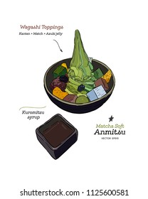 Matcha soft-cream anmitsu, Wagashi toppings, Kanten, Match and Azuki red bean jelly with black honey syrup. hand draw sketch vector.