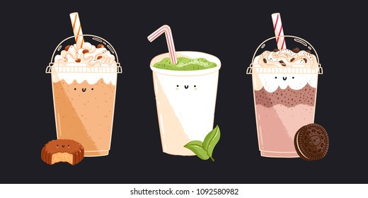 Matcha tea, chocolate and caramel coffee characters, isolated vector illustrations