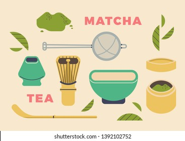 Matcha tea essentials. Lovely matcha green tea illustration with utensils including bowl, bamboo tea powder box,  hand sieve, wood spatula, whisk and whisk holder