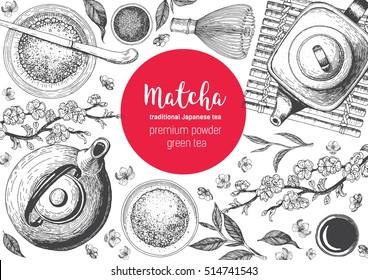 Matcha tea. Japanese traditions of tea ceremony. Vector illustration frame for Tea Shop. Vintage elements for design. Hand drawn sketch Illustration