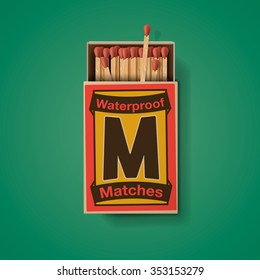 Matchbox and matches, top view isolated on green background, vector illustration.