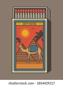 Matchbox and matches vector illustration. Vintage and unique matchbox packaging design