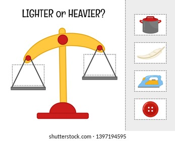 Matching children educational game.  Activity for pre sсhool years kids and toddlers.Material for learning the concept of heavy light.