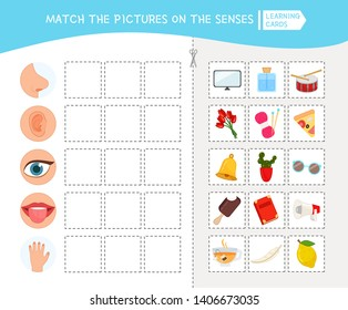 Matching children educational game. Activity for pre sсhool years kids and toddlers. Match of senses and objects.