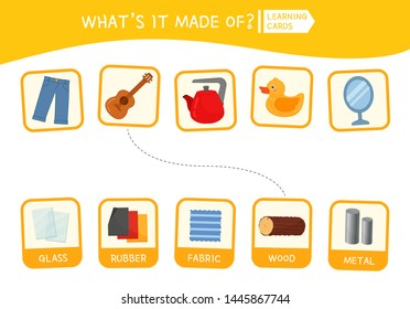 Matching children educational game. Activity for pre sсhool years kids and toddlers. What is it made of?