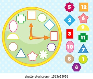 Matching children educational game. Clock puzzle shape sorting for kids and toddlers. Learn numbers, time and geometric forms