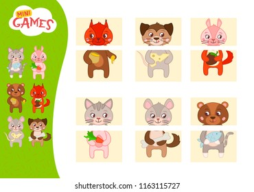Matching children educational game. Match parts of cute animals.. Activity for pre shool years kids and toddlers.