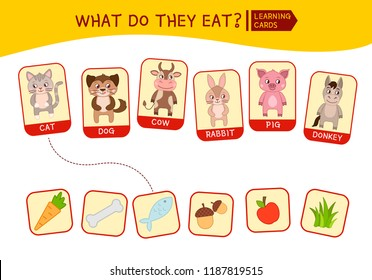Matching children educational game. Match parts of cute animals and food. Activity for pre shool years kids and toddlers.