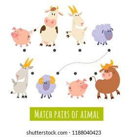 Matching children educational game. Match pairs of farm animals: cow, goat, pig, sheep. Activity for preschool years kids and toddlers. Mother and Father