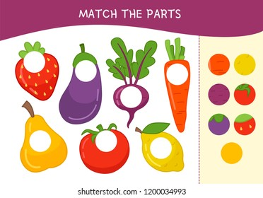 Matching children educational game. Match parts of cartoon vegetables. Activity for pre shool years kids and toddlers.