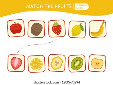 Matching children educational game. Match parts of cartoon fruits. Activity for pre shool years kids and toddlers.