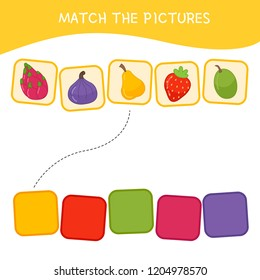 Matching children educational game. Match parts of cartoon fruits and colors. Activity for pre shool years kids and toddlers.