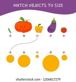 Matching children educational game. Match parts of cartoon vegetables to size . Activity for pre shool years kids and toddlers.