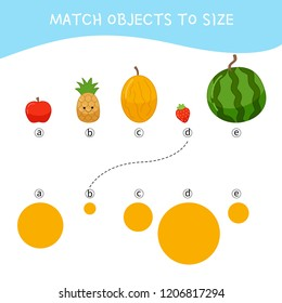 Matching children educational game. Match parts of cartoon fruits to size . Activity for pre shool years kids and toddlers.