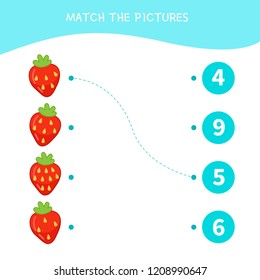 Matching children educational game. Match parts of cartoon strawberry. Activity for pre shool years kids and toddlers.