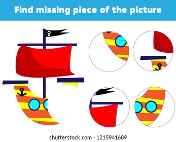 Matching children educational game. Match boat parts. Find missing puzzle. Activity for pre school years kids.