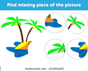 Matching children educational game. Match island parts. Find missing puzzle. Activity for pre school years kids.