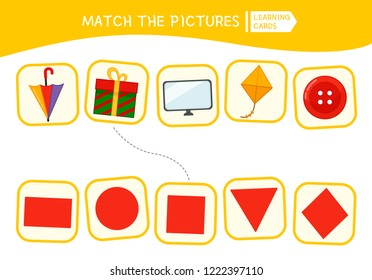 Matching children educational game. Match parts of objects and geometric shapes. Activity for pre shool years kids and toddlers.