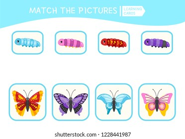 Matching children educational game. Match parts of caterpillars and butterflies . Activity for pre shool years kids and toddlers.