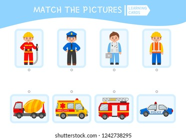 Matching children educational game. Match people and cars. Activity for pre shool years kids and toddlers.