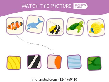 Matching children educational game. Match parts of sea animals and textures. Activity for pre shool years kids and toddlers.