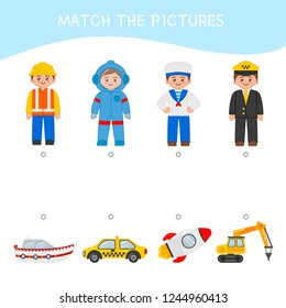 Matching children educational game. Match professions and transport.. Activity for pre shool years kids and toddlers.