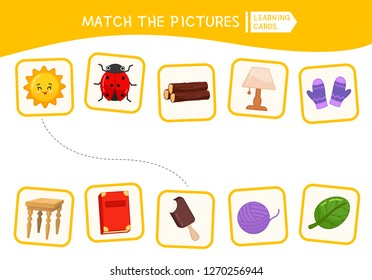 Matching children educational game. Match parts of objects. Activity for pre sсhool years kids and toddlers.