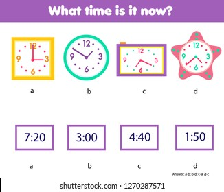 Matching children educational game. Match clock and time numbers. Learning hours and minutes on watch