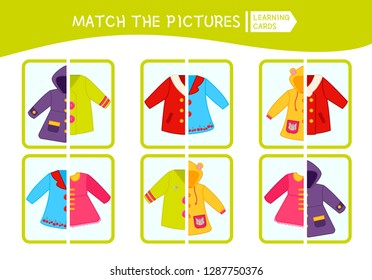 Matching children educational game. Match parts of coat. Activity for pre sсhool years kids and toddlers.