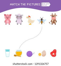 Matching children educational game. Match of animals and foods. Activity for pre sсhool years kids and toddlers.
