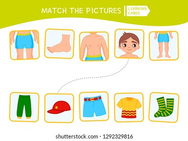 Matching children educational game. Match of body parts and clothing\r. Activity for pre sсhool years kids and toddlers.