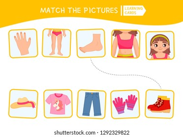 Matching children educational game. Match of body parts and clothing . Activity for pre sсhool years kids and toddlers.
