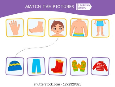 Matching children educational game. Match of body parts and clothing