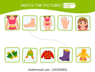 Matching children educational game. Match of body parts and clothing. Activity for pre sсhool years kids and toddlers.