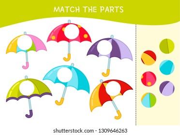 Matching children educational game. Match parts of umbrellas. Activity for pre sсhool years kids and toddlers.