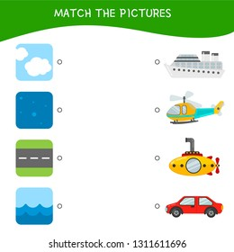 Matching children educational game. Match transport and roads. Activity for pre sсhool years kids and toddlers.