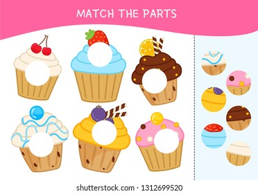 Matching children educational game. Match parts of cakes. Activity for pre sсhool years kids and toddlers.