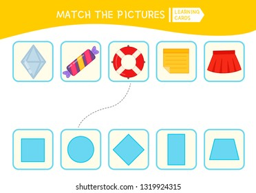 Matching children educational game. Match of objects and geometric shapes . Activity for pre sсhool years kids and toddlers.