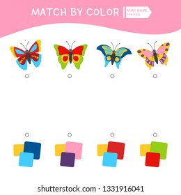 Matching children educational game. Match by colors. Activity for pre sсhool years kids and toddlers. Illustration of butterflies..